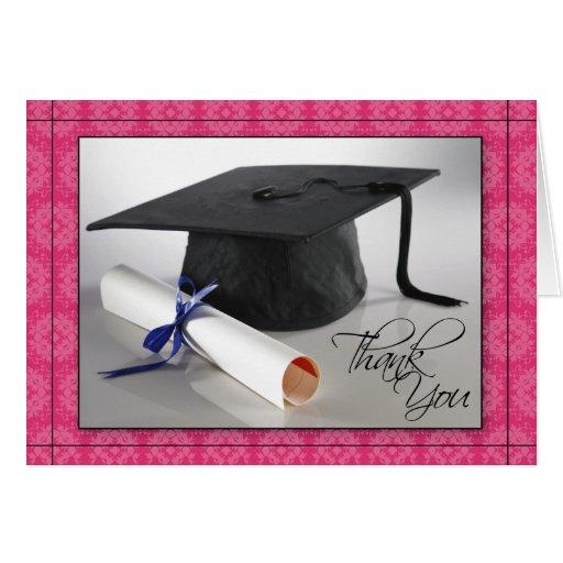 Customized Graduation Thank You Card (fuschia)