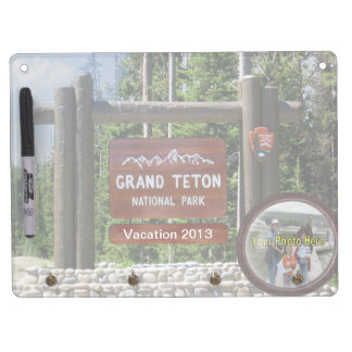 Customized Grand Teton Photo Souvenir Dry Erase Board With Keychain Holder