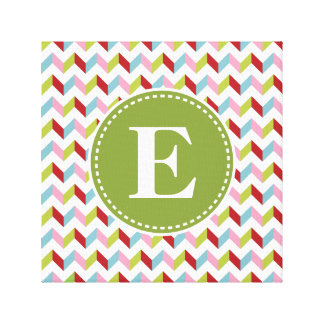 Customized Green and Pink Christmas Monogram Stretched Canvas Print