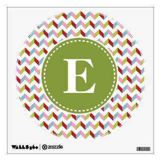 Customized Green and Pink Christmas Monogram Wall Graphics