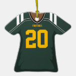 Customized Green/Gold Football Jersey 20 V2 Christmas Ornaments