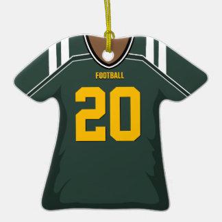 Customized Green/Gold Football Jersey 20 V2 Double-Sided T-Shirt Ceramic Christmas Ornament