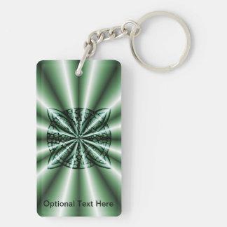 Customized Green Metallic Celtic Knot Double-Sided Rectangular Acrylic Keychain