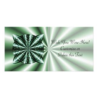 Customized Green Metallic Celtic Knot Photo Greeting Card