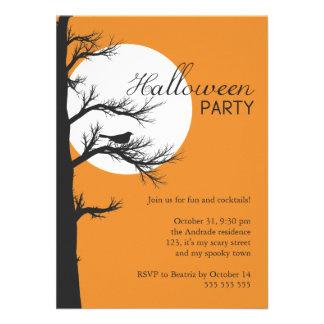 Customized Halloween Party Tree Silhouette Orange Invites