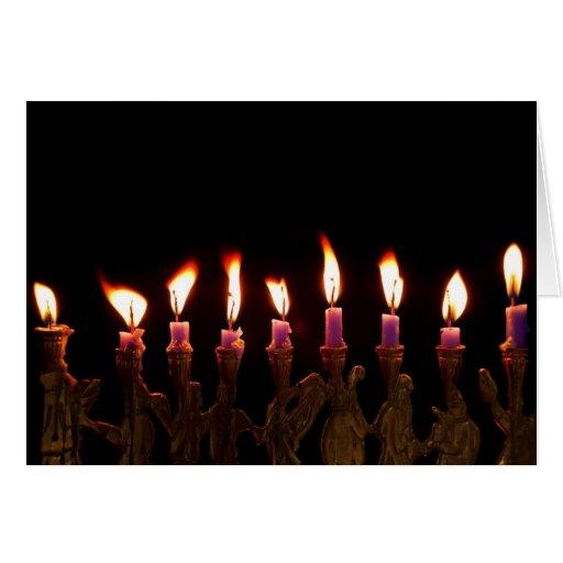 Customized Hanukkah Menorah Candles Holiday Card