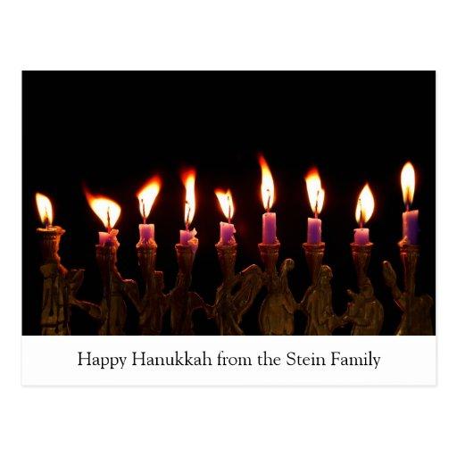 Customized Hanukkah Menorah Candles Holiday Card Postcards