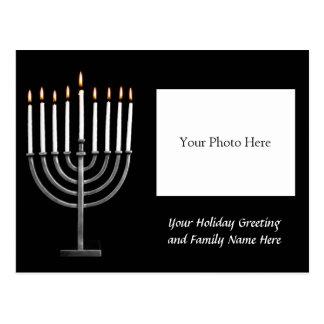 Customized Hanukkah Menorah w/ Photo Holiday Card