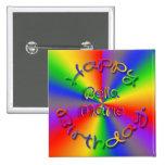 Customized Happy Birthday Rainbow Button