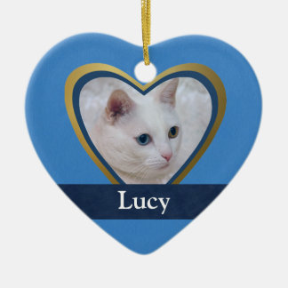 Customized Heart-Shape Frame for a Pet Photo Ceramic Ornament