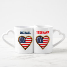 Customized Heart-Shaped US Flags Coffee Mug Set