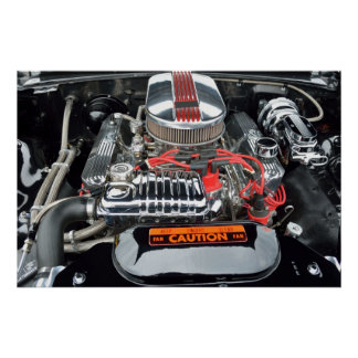 Customized High Performance Car Engine Poster