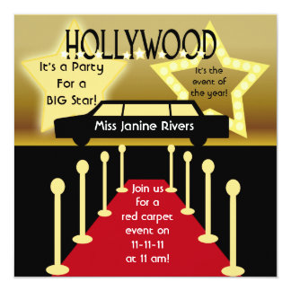 "Customized Hollywood Glamour Birthday Invitation 5.25"" Square Invitation Card"
