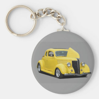 customized hot rod car basic round button keychain