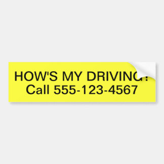 Customized How is My Driving Bumper Sticker