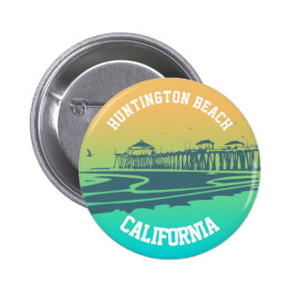 Customized Huntington Beach Pier Illustration Button