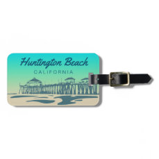 Customized Huntington Beach Pier Illustration Luggage Tag