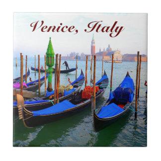 Customized Image of Gondolas in Venice Tile