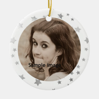 Customized Instagram Photo Glitter Stars Christmas Double-Sided Ceramic Round Christmas Ornament