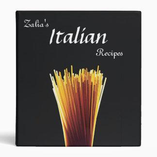 Customized Italian Recipe Cookbook Binder