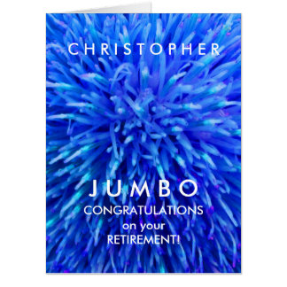 Customized JUMBO Blue Abstract Retirement Card