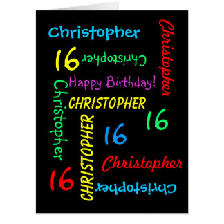 Customized JUMBO GIANT Black Birthday Card Any Age