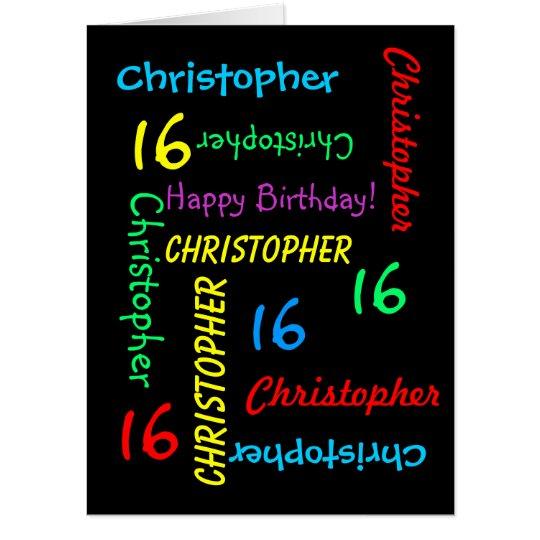 Customized JUMBO GIANT Black Birthday Card Any Age