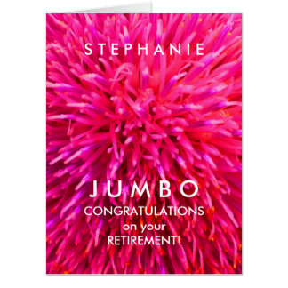 Customized JUMBO Hot Pink Abstract Retirement Card
