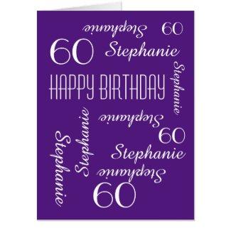 Customized JUMBO HUGE Purple Birthday Card Any Age