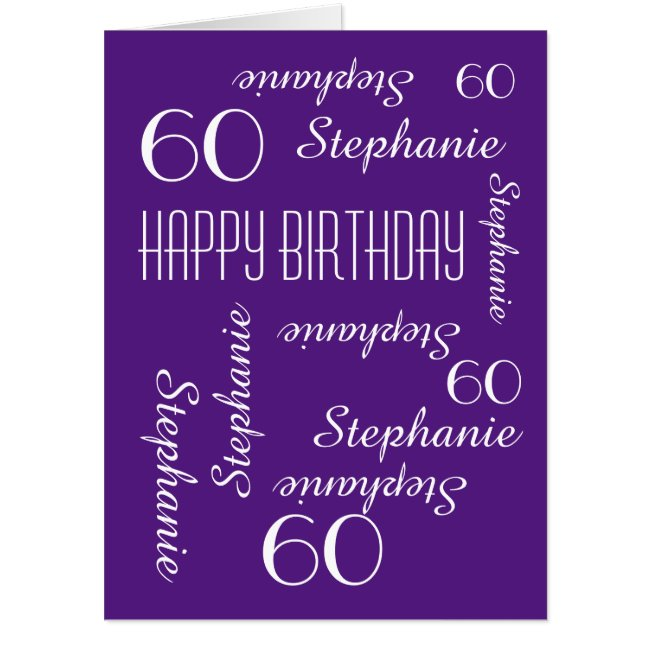 Customized JUMBO HUGE Purple Birthday Card Any Age