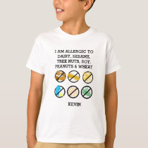 Customized Kids Allergy Symbols Sesame Soy Nuts T-Shirt