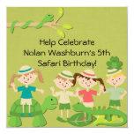 "Customized Kids Safari Birthday Invites 5.25"" Square Invitation Card"