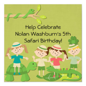 Customized Kids Safari Birthday Invites 5.25