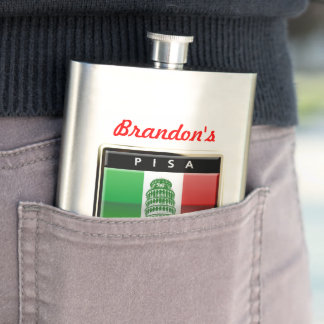 Customized Leaning Tower of Pisa and Italian Flag Hip Flask