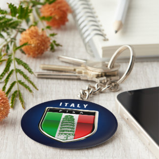 Customized Leaning Tower of Pisa and Italian Flag Keychain