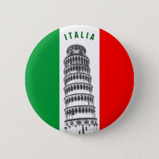 Customized Leaning Tower of Pisa and Italian Flag Pinback Button