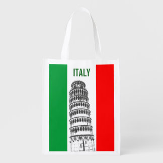 Customized Leaning Tower of Pisa and Italian Flag Reusable Grocery Bag