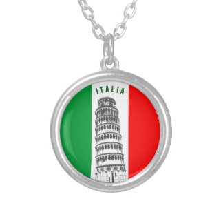 Customized Leaning Tower of Pisa and Italian Flag Silver Plated Necklace