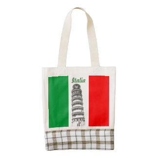Customized Leaning Tower of Pisa and Pisan Cross Zazzle HEART Tote Bag
