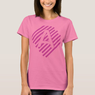 Customized Letter Side-Striped Shirt(pink stripes) T-Shirt
