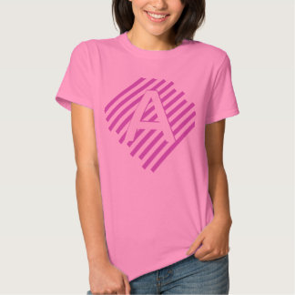 Customized Letter Side-Striped Shirt(pink stripes) Tees