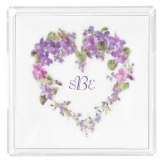 Customized Lilac Heart Vanity Tray