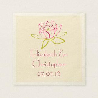 Customized Lotus Flower / Water Lily Illustration Napkin