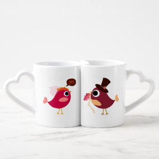 Customized Love Birds Bride and Groom Lovers Mugs Couples' Coffee Mug Set