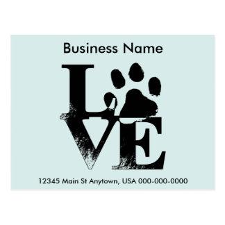 Customized LOVE Puppy Dog Paw Print Postcard