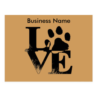 Customized LOVE Puppy Dog Paw Print Tan Background Postcard
