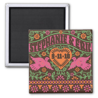 Customized Lovebirds Save the Date Magnet