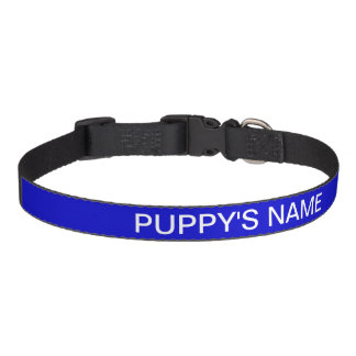 Customized Medium Blue Classic Solid Color Pet Collar