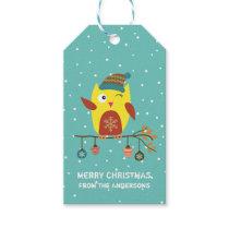 "Customized ""Merry Christmas"" Cute Christmas Owl Gift Tags"