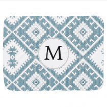 Customized Mod monogram Ikat Blue pattern Baby Blanket